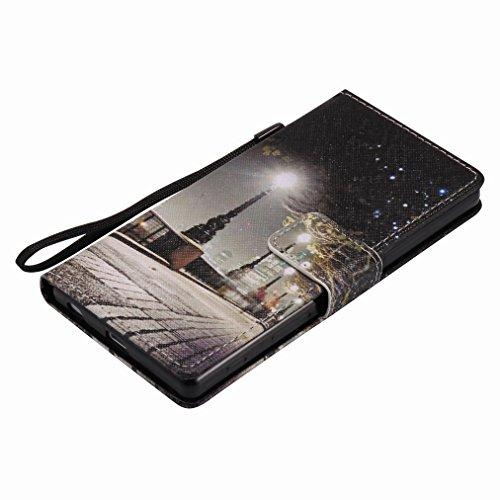 Custodia Sony Xperia Z5 Cover Case, Ougger Portafoglio PU Pelle Magnetico Stand Morbido Silicone Flip Bumper Protettivo Gomma Shell Borsa Custodie con Slot per Schede, Scena Notturna