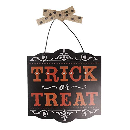JohnnyBui - Halloween Trick Or Treat Hanging Wall Sign Wood Plaque Home Decoration Board DIY-M14]()