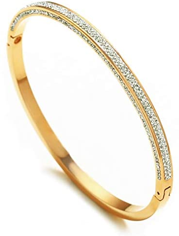 "Rose Gold/Gold/Silver Titanium Stainless Steel Pave Cubic Zironia Simulate Diamond Oval Hinged Bangle Bracelet 6.5""-7"""