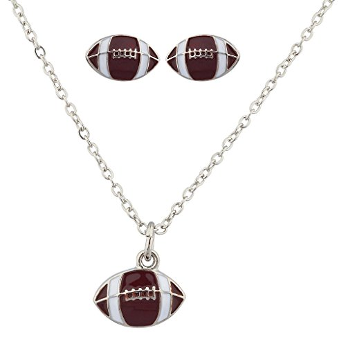 Lux Accessories Football Gridiron Pendant Sport Necklace Matching Earrings