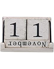 HEALIFTY Wooden Blocks Perpetual Desk Calendar Vintage Rustic Home Decorations Birthday Gifts (white)