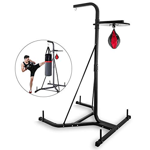BuoQua 132lbs Boxing Stand Heavy Bag Stand Free Standing Punching Punch Bracket Station Height Adjustable Folding Boxing Bag Stand For Home Fitness (HRAT24A)