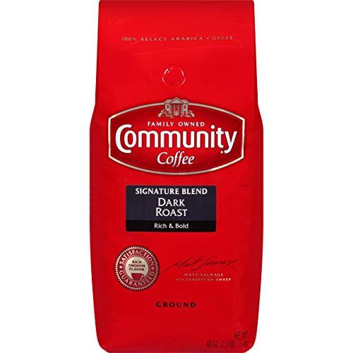 Community Coffee Dark Roast Premium Ground 40 Oz Bag, Full Body Rich Flavorful Taste, 100% Select Arabica Coffee Beans