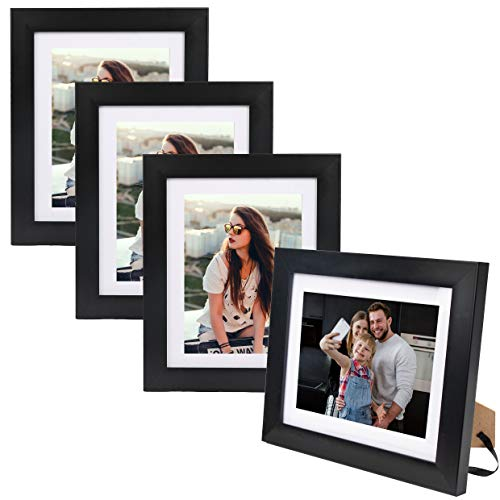 8X10 Picture Photo Frame (4 Pack) with Matted for 5X7 Black Color, Vertical or Horizontal, Table Top and Wall Mounting Display