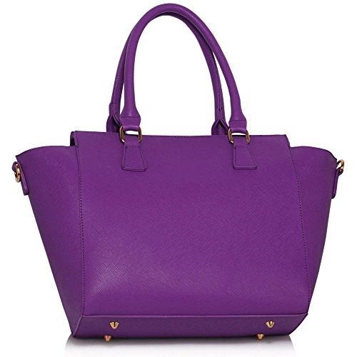LeahWard® Große Größe Damen Mode Essener Stunning Reißverschluss Tragetaschen Damen Qualität Schnell verkaufend Handtasche CWS00314 A Lila