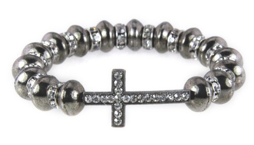 4031045 Beautiful Beaded Cross Stretch Hematite Bracelet Rhinestones Christian Fashion