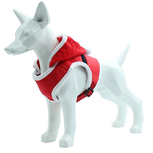 PUPTECK Santa Christmas Small Dog Harness – Soft Mesh Pet Holiday Costume Clothes with Hood -