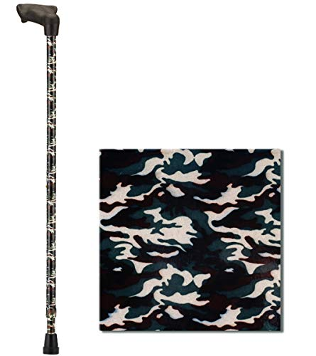 NOVA Palm Grip Orthopedic Handle Walking Cane for Right Hand, Lightweight and Adjustable, Camouflage Design