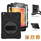 iPad 10.2 Case 2019 iPad 7th Generation Case with Screen Protector - TSQ Heavy Duty Shockproof Hard Durable Rugged Protective Kids Case with Hand Strap Stand Shoulder Strap for iPad 7th Generation - Black
