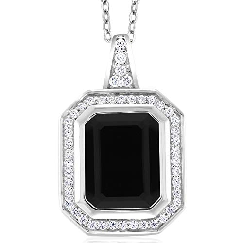 (Gem Stone King 5.00 Ct Emerald Cut Black Onyx 925 Sterling Silver Pendant)
