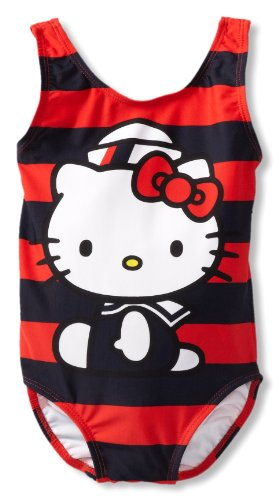 Hello Kitty Little Girls'  Nautical One Piece, Red/Nany, 4
