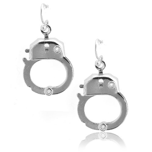 Spinningdaisy Silver Plated Functional Handcuff Earrings