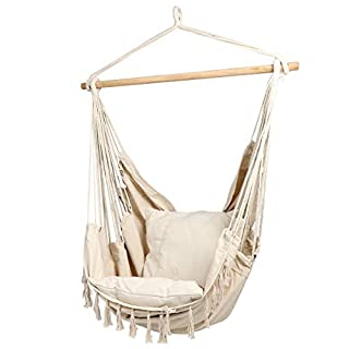 CCTRO Large Hammock Chair | Hanging Rope Swing Seat for Indoor & Outdoor | Soft & Durable Cotton Canvas | 2 Cushions Included with Pocket for Bedroom, Patio, Porch (Beige)