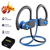 moffo Wireless Headphones, Wireless Sport HD Stereo IPX5 Sweatproof in Ear Earbuds Waterproof Headset with Built-in Mic for Gym Running Workout 8 Hours Battery Thanksgiving Day Gift (Gray&Blue)