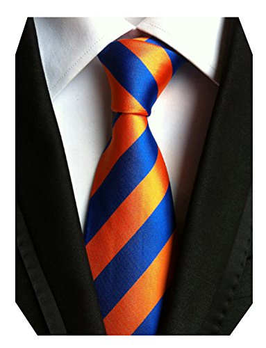 Orange And Tie Blue (MENDENG Large Striped Orange Gold Blue 100% Silk Business Casual Men Tie Necktie)