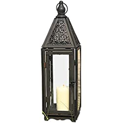 Whole House Worlds Farmer's Market Faded Lace Candle Lantern Hurricane, Tempered Glass, Rustic Dark Bronze, Distressed Finish, Weathered Rust Patina, 21 Inches Tall Including Loop, by WHW