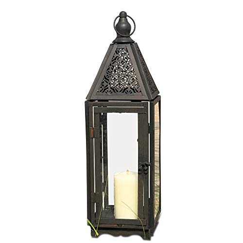 - Farmer's Market Faded Lace Candle Lantern Hurricane, Tempered Glass, Rustic Dark Bronze, Distressed Finish, Weathered Rust Patina, 21 Inches Tall Including Loop