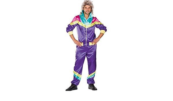 Rubies Disfraz de Hombre Retro Jogging Traje Morado Colorido 80s ...