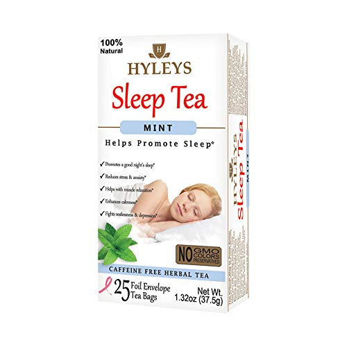 - HyleysSleep Mint Herbal Tea - All Natural Sleep and Balm Collection for Relaxation with25 foil Envelope Tea Bagsfor Happy Sleep, Maintain Health and Immunity