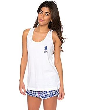 Women's 2 Piece Logo Racerback Tank and Plaid Ruffle Shorts Pajama Sleepwear Set