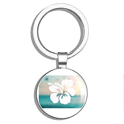 - 1080 Graphics Hibiscus Shape FlowerMetal Round Metal Key Chain Keychain Ring