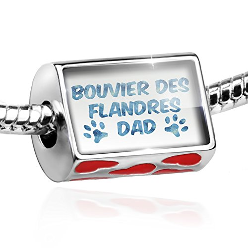 Bead Dog & Cat Dad Bouvier des Flandres Charm with hearts by NEONBLOND ()