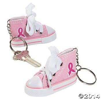 12 Adorable PINK RIBBON Tennis Shoe KEYCHAINS- FUNDRAISING Walk/Run/RELAY TEAM/BREAST CANCER -