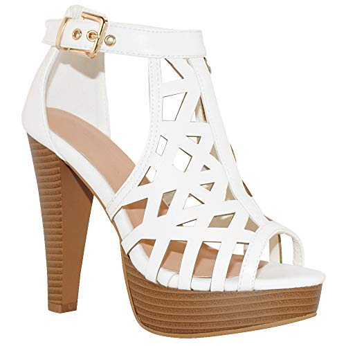 - TRENDSup Collection Open Toe Ankle Strap Sandal - Western Bootie Stacked Heel Open Toe Cutout Shoes (6, White)