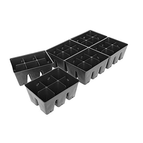 Handy Pantry Black Plastic Garden Tray Inserts – 5 Sheets of 36 Planting Pot Cells Each – 2×3 Nested x6 Configuration – Perforated – Nursery, Greenhouse, Gardening
