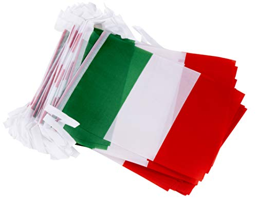 Juvale Italian String Flags - 100-Piece Pennant Banner Hanging Decoration, Italy Flag Garland for Indoor Outdoor Display, 5.75 x 8 Inches, 82 Feet Total Length ()