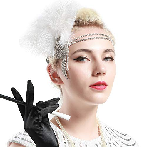 BABEYOND 1920s Flapper Headband Roaring 20s Headpiece Gatsby Ostrich Feather Headpiece with -