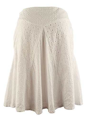 Lauren Long Skirt Skirt - Lauren Ralph Lauren Womens Eyelet Knee-Length Flare Skirt White 10