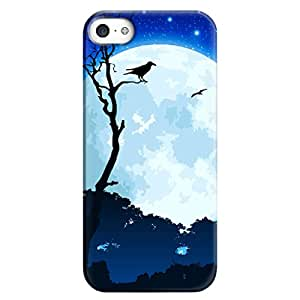 Iphone 5 5S Case,JIANSE Stylish Full Protective Slim Fit Durable Flexible Nebula Moon Tree Night Sky Stars Birds Pattern Hard Back Cover Case Bumper for iphone 5 5S 5G