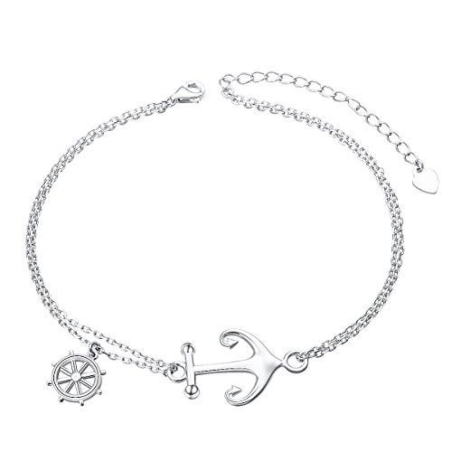(DAOSHANG Graduation Bracelet S925 Sterling Silver Anchor and Rope NauticalBracelet Adjustable Anchor Bracelet Cross Bracelet Ocean Sea Theme Jewelry for)