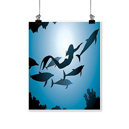 On Canvas Prints The Mermaid and Dolphins Underwater View Friendship Travel Diving Fin Sea Paintings for Wall Decor,24