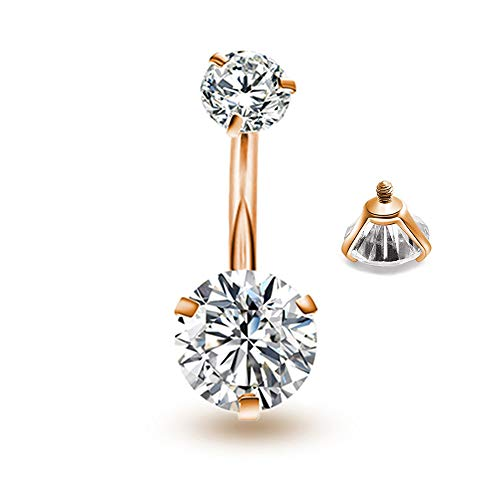 Triangular Womens Ring - Belly Button Rings Round Cubic Zirconia Navel Barbell Stud Body Piercing(Rose Gold+Clear)