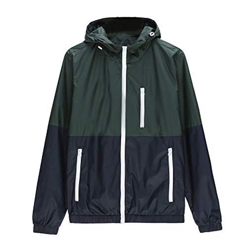(NIKAIRALEY Tops Men's Sportswear Waterproof Hooded Rain Jacket, Lightweight Packable Raincoat for Outdoor, Camping, Travel Green)