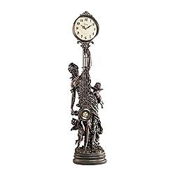 Design Toscano Grand-Scale Flora Sculptural Swinging Pendulum Clock in Antique Faux Bronze