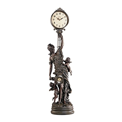 -Scale Flora Sculptural Swinging Pendulum Clock in Antique Faux Bronze (Grand Flora Stone)