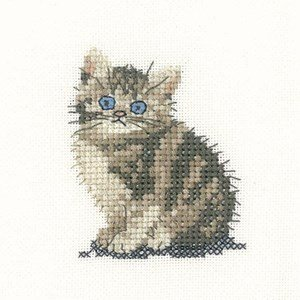 Getigerte Katze, 28-fädig, Aida-Stoff, Kreuzstich-Zählmuster, Set