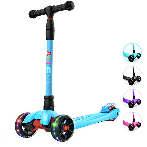 Allek Kick Scooter B02, Lean 'N Glide Scooter with Extra Wide PU Light-Up Wheels and 4 Adjustable Heights for Children from 3-14yrs (Aqua Blue)