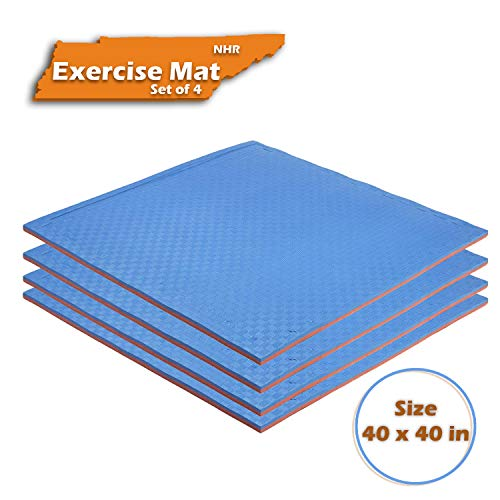 NHR EVA Puzzle Exercise Mat, Gym Tile, EVA Foam Interlocking Tiles, Protective Floor mat for Gym Equipment and Cushion for Workouts with 25 MM Thickness 40 inches x 40 inches (Set of 4) Price & Reviews