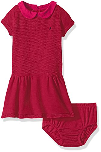 Nautica Baby Mixed Stitch Sweater Dress with Woven Polka Dot Collar, Berry, 18 ()