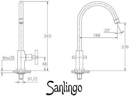 VICTORIA Sanlingo Hohe Kaltwasser Armatur Kreuzgriff 1//2-Zoll 34cm