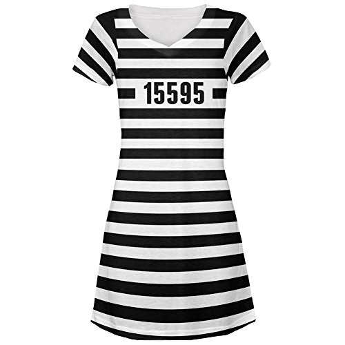 Halloween Prisoner Old Time Striped Costume All Over Juniors Cover-Up Beach Dress - Large