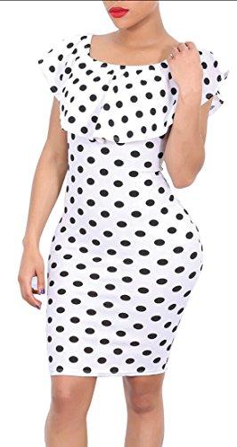 Dot Dress Neck Slim Scoop Backless Womens Jaycargogo Mini 1 Ruffle Polka c1f0wqcHZW