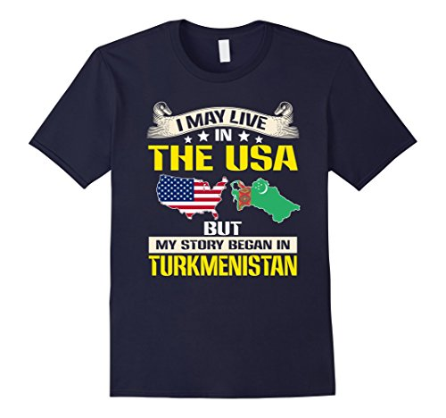 Mens Live In usa - Born In Turkmenistan Flag Map T-Shirt Large Navy