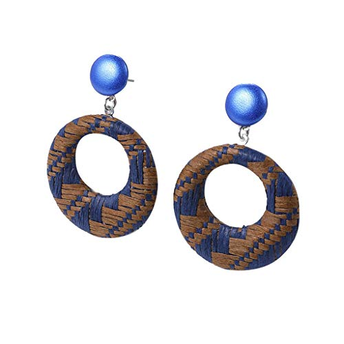 TOOPOOT Earrings  Ladies Jewelry Bohemia Style Wood Bamboo Rattan Geometric Round Earrings Blue