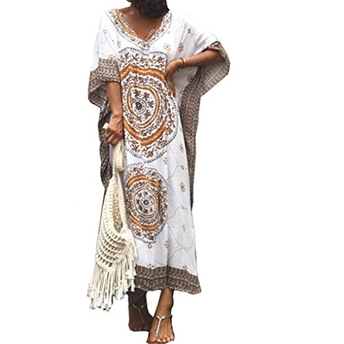 Republe Femmes Plus La Taille Maxi Robe Longue Floral Imprimer Bat Manches Floral Lache Maxi Long Dress Caf