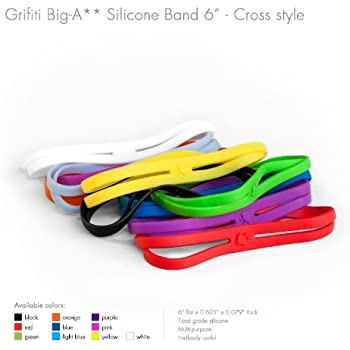 """Grifiti Big-Ass Bands X Cross Style 6"""" 5 Pack Books, Camera Lens, Art, Cooking, Wrapping, Exercise, MacBooks, Bag Wraps, Dungies Replacements, and Made with Silicone Instead of Rubber or Elastic"""